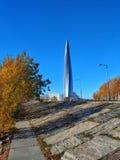De mening van Lakhta-Centrum stock foto