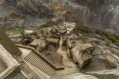 De mening van Lamayuru-klooster Mooie luchtmening van landt, H op de maan stock foto