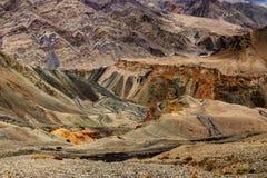 De mening van landt, Lamayuru, Ladakh, Jammu en Kashmir, India op de maan Stock Foto
