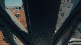 De mening van Lissabon van Santa Justa Lift, Portugal stock footage