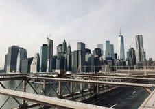 De mening van Manhattan van de brug van Brooklyn stock foto