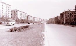 De mening van Moskou van Zoe en Alexander Kosmodemyanskiy Street July 196 Royalty-vrije Stock Afbeeldingen