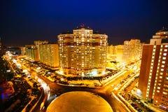 De mening van de nacht van de stad 3d geef illustratie terug moskou Stock Afbeeldingen