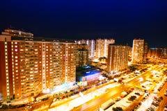 De mening van de nacht van de stad 3d geef illustratie terug moskou Royalty-vrije Stock Foto's