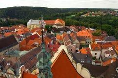 De mening van Nice van de toren in centrum van Tabor, Tsjechische Republiek, Augustus royalty-vrije stock afbeelding