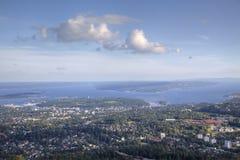 De mening van Oslo van Holmenkollen (HDR) stock afbeeldingen