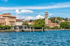 De mening van Pallanza, het is een dorp in de gemeente van Verbania op de kust van Meer Maggiore Stock Foto's