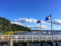 De mening van de de pijler en Kororareka-Baai in Russell, Nieuw Zeeland stock foto's
