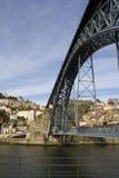 De Mening van Porto met D. Luis Bridge royalty-vrije stock afbeeldingen