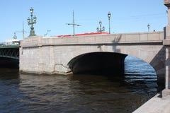 De mening van de rivier, de brug en de machines stock afbeelding