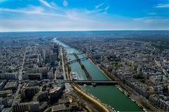 De mening van riviersiene van de Toren van Eiffel Royalty-vrije Stock Foto