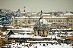 De mening van Rome onder de sneeuw in januari 2012 Royalty-vrije Stock Fotografie