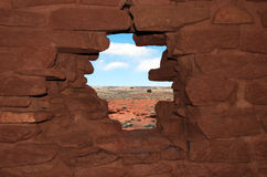 De mening van ruïnes Wukoki in Wupatki Stock Foto's