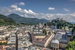 De mening van Salzburg van kasteel Royalty-vrije Stock Foto