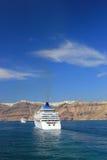 De mening van Santorini (Griekenland) - reisachtergrond Stock Foto