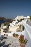 De mening van Santorini over havenverticaal Stock Foto's