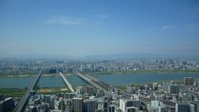De mening van de de stadshemel van Osaka van de bouw van de umedahemel stock video