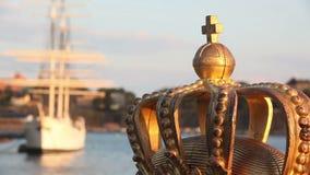 De mening van Stockholm met kroon Stock Foto