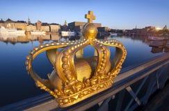 De mening van Stockholm met kroon Royalty-vrije Stock Foto