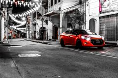 De mening van de de straatnacht van Maleisië Penang Royalty-vrije Stock Afbeelding