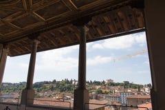 De mening van Terras van Saturn in Palazzo Vecchio, Florence, het royalty-vrije stock foto
