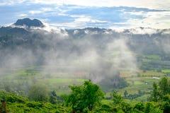 De mening van de vallei, de bergen en de mist Stock Afbeeldingen