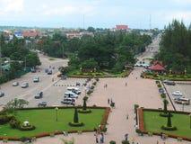 De mening van Vientiane van Patuxai Victory Monument Royalty-vrije Stock Fotografie