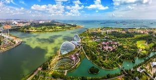 De mening van vogelogen van de Stadshorizon van Singapore stock foto