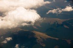De mening van wolken van vliegtuig Stock Afbeeldingen