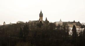 De meningen van de de wintermist van de stad van Luxemburg Stock Fotografie