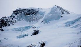De meningen van het Icefieldsbrede rijweg met mooi aangelegd landschap stock afbeelding