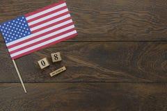 De menings luchtbeeld van de lijstbovenkant van decoratie het teken van de Gelukkige Columbus dag van de V.S. op 8,2018 Oct stock fotografie