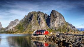 De Meningsdorp Reine Norway van het Lofotenpanorama Stock Foto