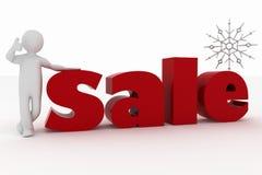 De mens adverteert de aardige verkoop van het Nieuwjaar vector illustratie