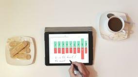 De mens analyseert gegevens van grafiek en grafiek stock footage