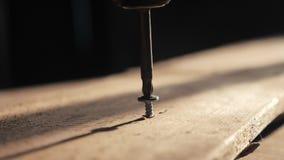 De mens de arbeider haalt de schroef met een schroevedraaier aan De draai van de schroevenschroevedraaier in houten raad Schrijnw stock video