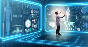 De mens arts in futuristisch geneeskunde medisch concept stock fotografie