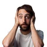 De mens behandelt zijn oren royalty-vrije stock afbeelding