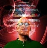 De mens bekijkt videogebied dat zijn hoofd omringt Stock Foto