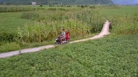 De mens berijdt autoped met meisje op achterbank langs grondweg stock videobeelden