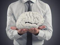 De mens beschermt hersenen met zijn handen het 3d teruggeven Royalty-vrije Stock Afbeelding