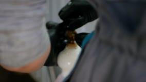 De mens bevestigt een fles chemische zeepachtige vloeistof op spuitbus stock footage