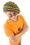 De mens breit binnen hoed Royalty-vrije Stock Afbeelding