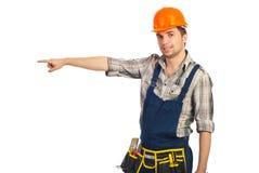De mens die van de bouwer aan exemplaarruimte richt Royalty-vrije Stock Foto