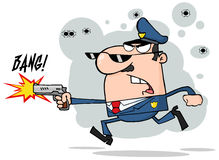 De mens die van de politie met een kanon loopt Stock Fotografie