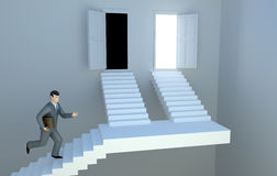 De mens die van de zakenman voor de uitgang loopt. Stock Fotografie