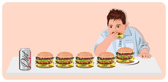 De mens die van het beeldverhaal hamburgers eet Royalty-vrije Stock Afbeeldingen