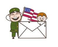 De Mens die van het beeldverhaalleger een Vlag en de Brief van de V.S. met Jong geitje Vectorillustratie houden Stock Foto