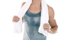 Mens met handdoek royalty-vrije stock afbeelding