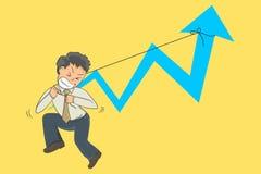 De mens die van het zakenmanbeeldverhaal hulp proberen een bedrijfsscène stock illustratie